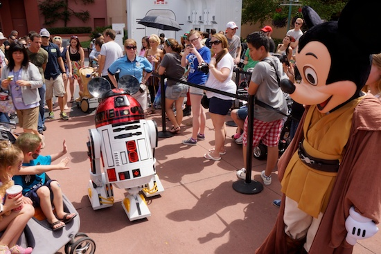 Mickey Mouse and R2-MK on Star Wars Day