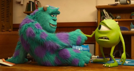 Mike meets Sully in Monsters University
