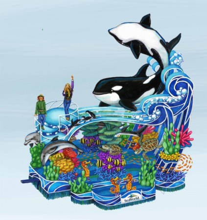 2013 SeaWorld's A Sea of Surprises- Macy's Parade float concept sketch main view (1)