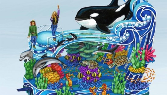 2013 SeaWorld's A Sea of Surprises- Macys Parade float concept sketch main view