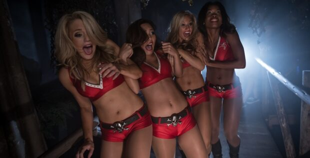 bucs cheerleaders screaming at a halloween event