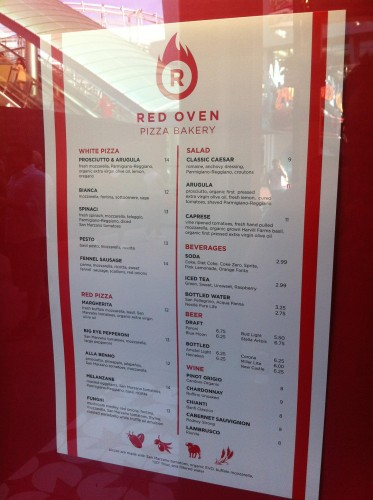 Red Oven Pizza Bakery menu