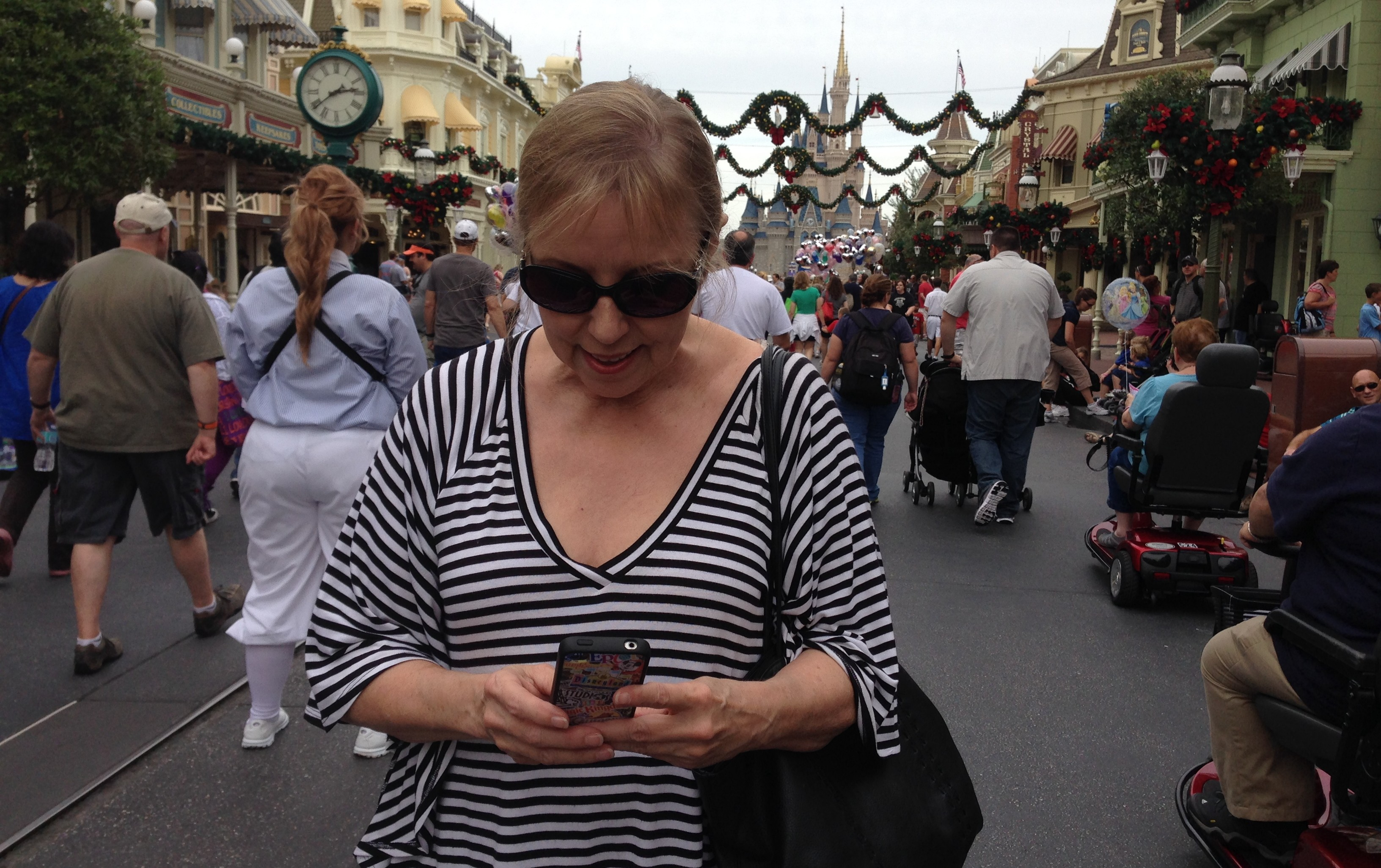 theme park guests use phones