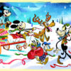 Disney characters at christmastime artwork d23