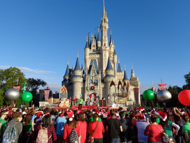 Disney Parks Christmas Day Parade castle stage