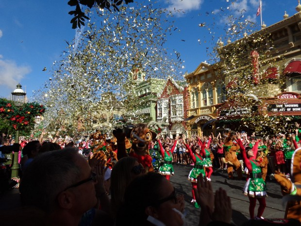 Disney Parks Christmas Day Parade confetti main street
