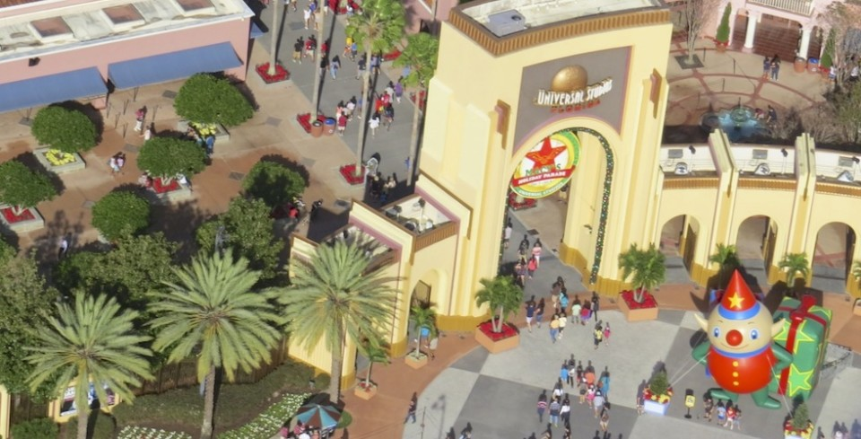 Universal Studios entrance from above