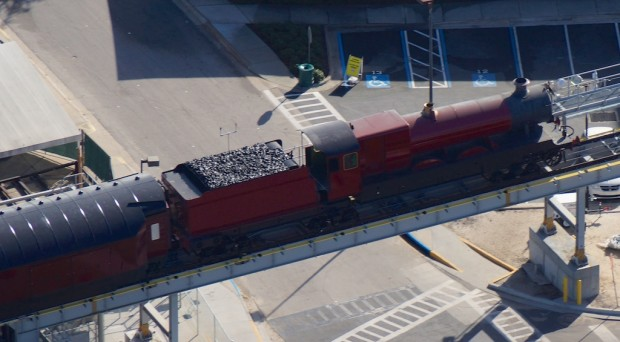 Wizarding World Diagon Alley expansion aerial photo train close-up