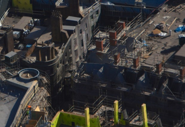 Wizarding World Diagon Alley expansion aerial photo streets