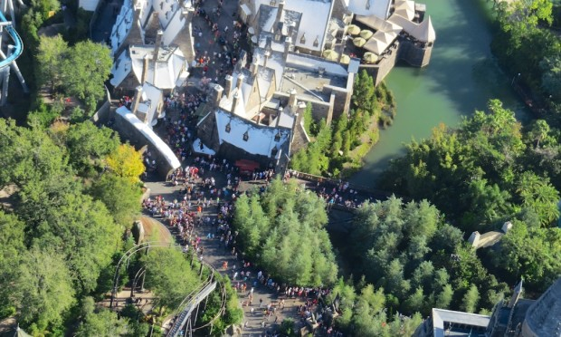 Wizarding World Diagon Alley expansion aerial hogshead