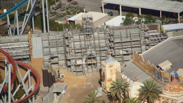 Wizarding World Diagon Alley expansion aerial Hogsmeade station