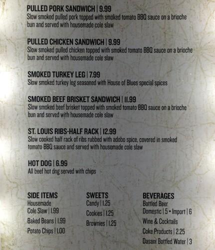 House of Blues smokehouse menu