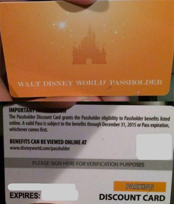 Passholder discount card at disney