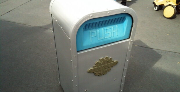Push the talking trash can at disney