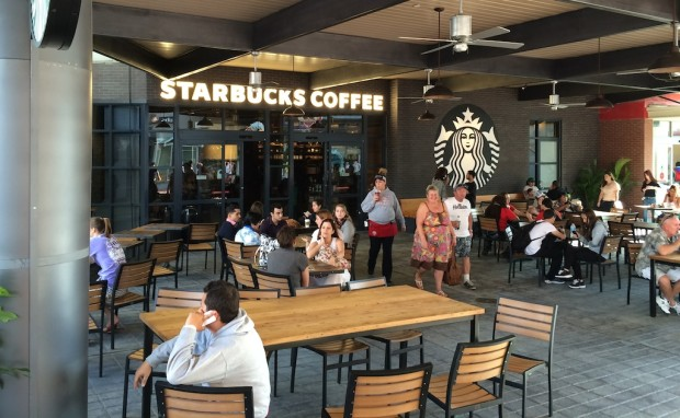 Outside seating at Starbucks at Universal CityWalk