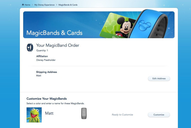 My Disney Experience MagicBand customizing