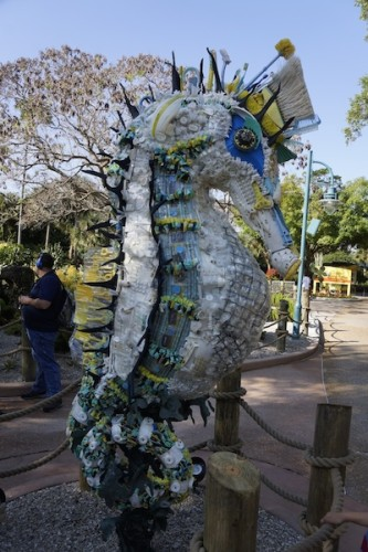 SeaWorld beach trash sculpture