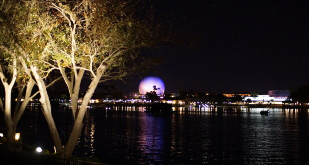 Epcot at night spaceship earth
