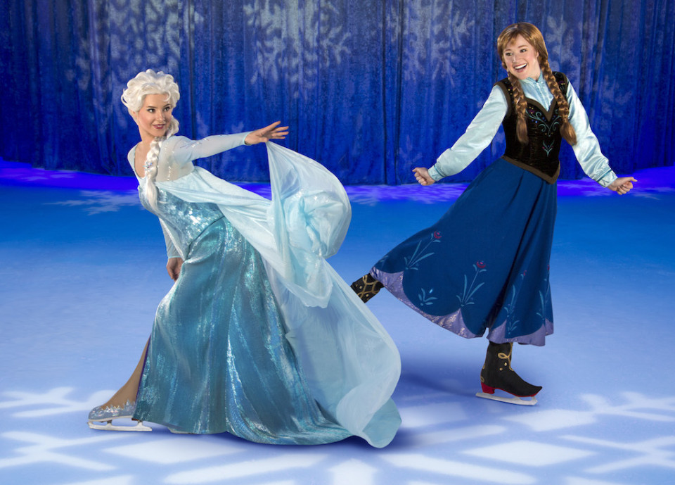 anna and elsa skating in Frozen on Ice