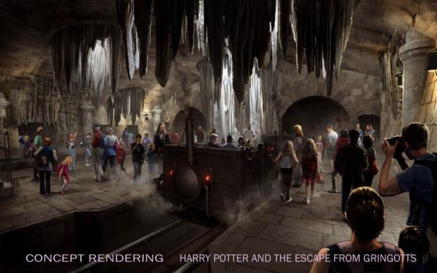 harry potter escape from gringotts loading area rendering