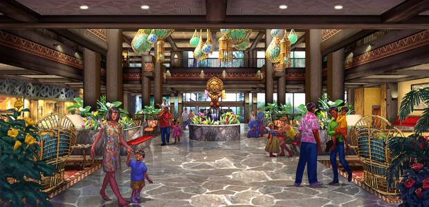 disney polynesian lobby redering art wdw