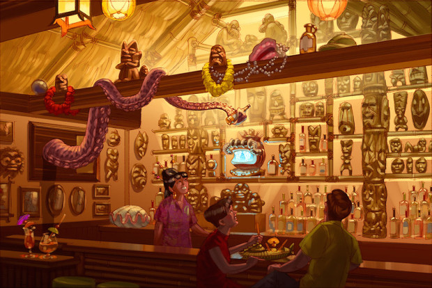 Trader Sam's art with octopus at wdw