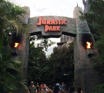 Jurassic Park entry arch near The Wizarding World of Harry Potter - Hogsmeade.