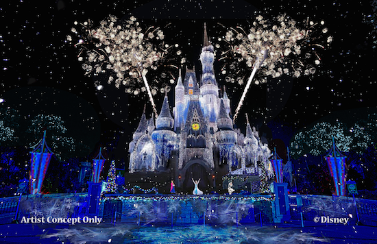 magic kingdom ice castle lighting Frozen elsa
