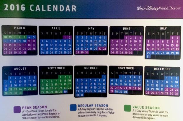 Disney ticket price calendar