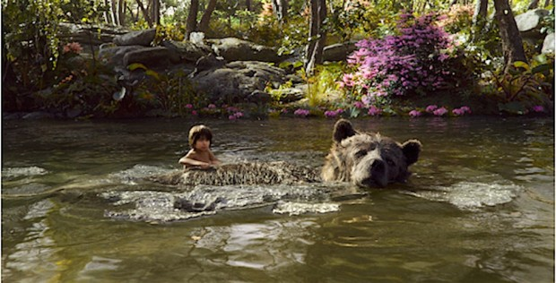 Mowgli takes a swim with Baloo