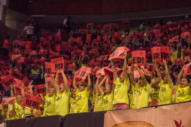 Kids cheering at the Mascot Games
