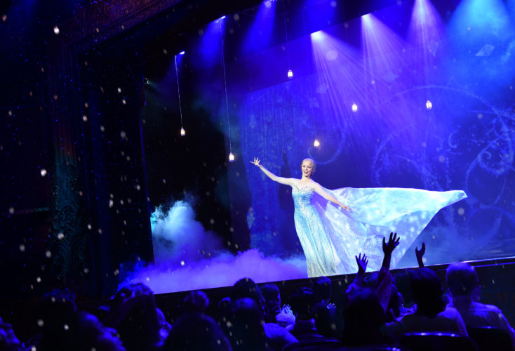 """The beloved animated hit """"Frozen"""" is getting the Disney Cruise Line theatrical treatment as a full-length stage show exclusively aboard the Disney Wonder. In """"Frozen, A Musical Spectacular,"""" the story will be presented like never before with an innovative combination of traditional theatrical techniques, modern technology and classic Disney whimsy. (Concept photo, David Roark)"""