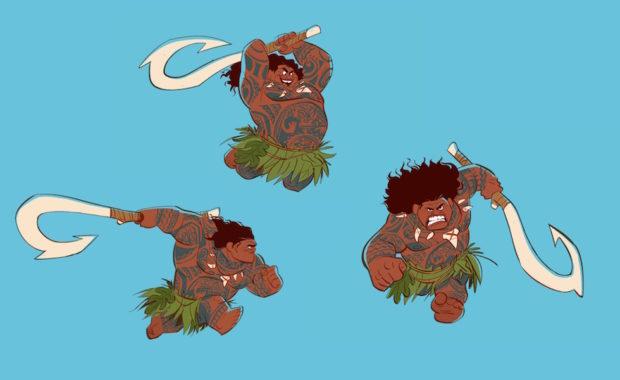 Maui visual development. Artist: Bill Schwab, Moana Art Director, Characters.