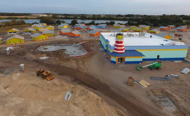 legoland beach retreat aerial construction