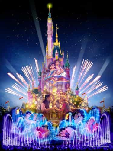 Hong Kong Disneyland castle nighttime show