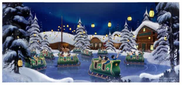 Hong Kong Disneyland frozen land oakens sleigh ride