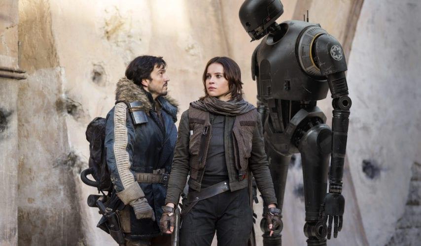 Cassian Andor (Diego Luna), Jyn Erso (Felicity Jones) and K-2SO (Alan Tudyk). in Rogue One: A Star Wars Story