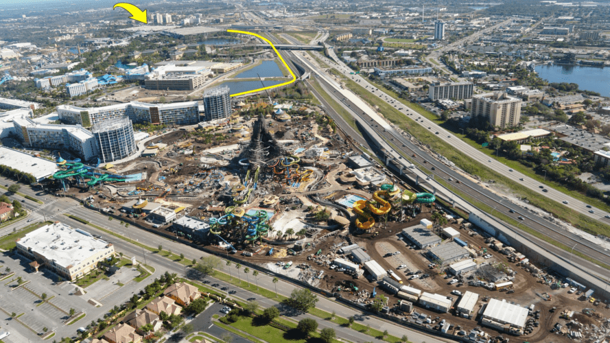 The yellow arrow and line mark the shuttle route from the Universal parking garages to Volcano Bay.