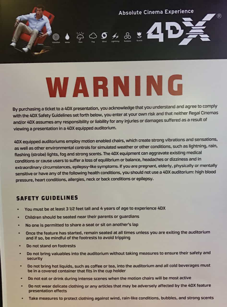 4dx warnings sign