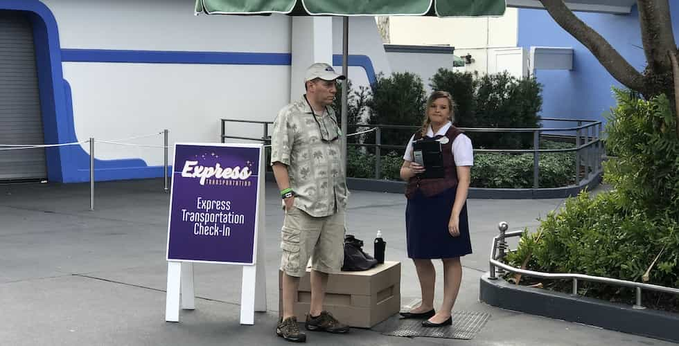 express transportation check-in area at Magic Kingdom