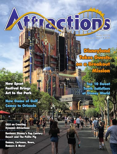 The cover of the Winter 2017 / 2018 issue featuring Guardians of the Galaxy at Disney California Adventure