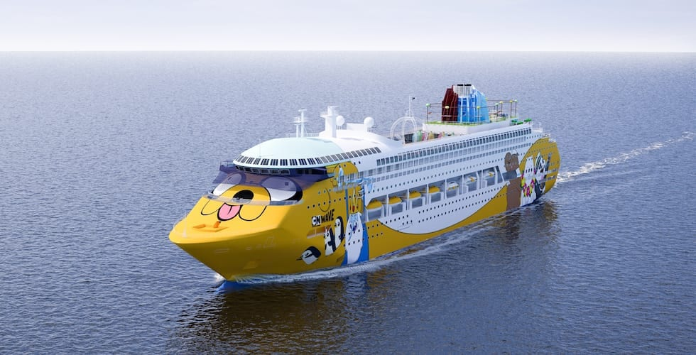 exterior of the cartoon network wave cruise ship