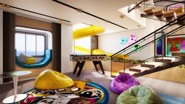 the kids area in Cartoon Network Wave's Triplex Suite.