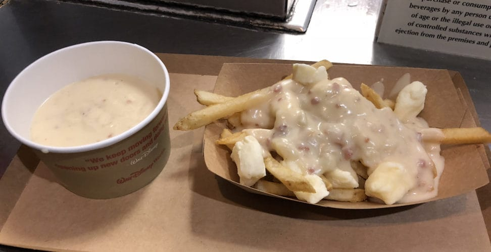 Cheddar cheese soup and poutine