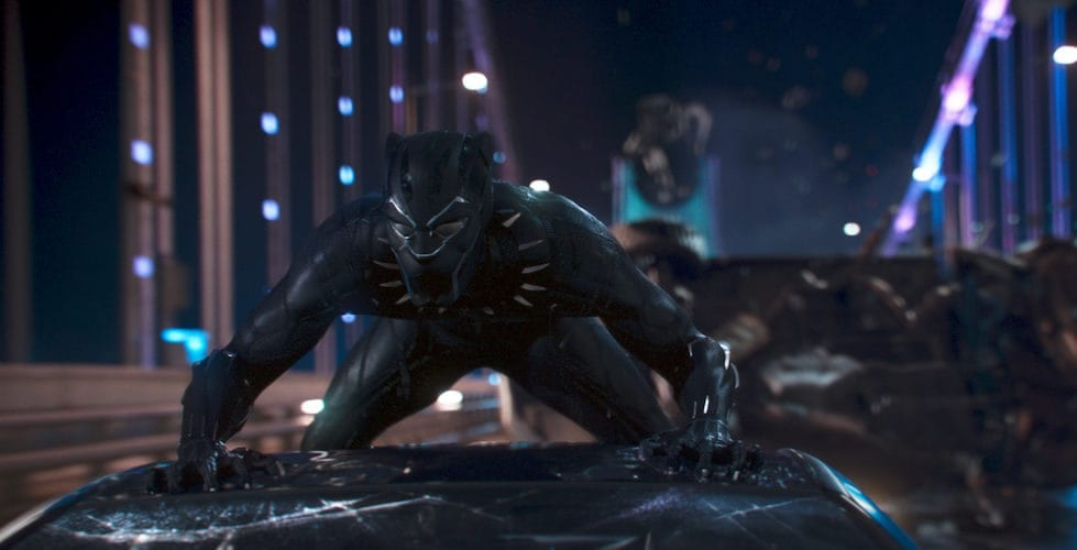 Black Panther on top of a car.