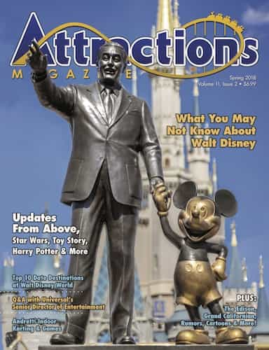 The cover of the Spring 2018 issue featuring the statue of Walt Disney and Mickey Mouse at Magic Kingdom.