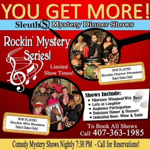 Sleuths Mystery Dinner Shows Rockin' Mystery musicals