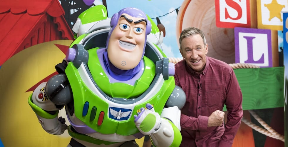Tim Allen Strikes A Pose With Buzz Lightyear After Taping An Interview For Good Morning America And Nightline Airing On ABC Wednesday May 2