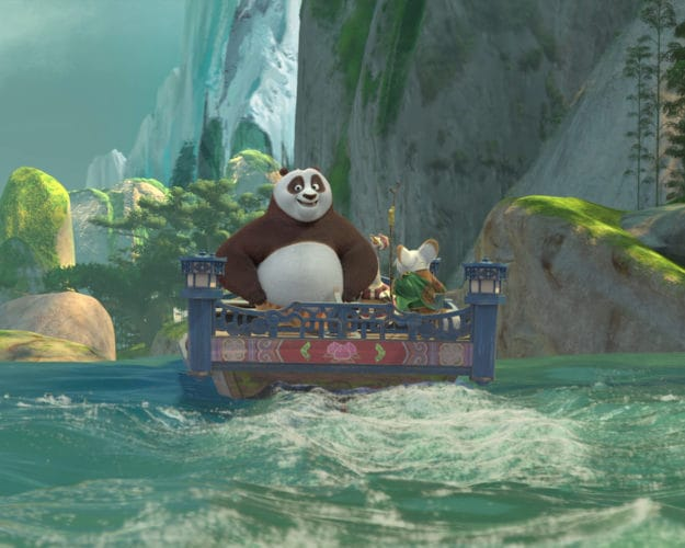 Kung fu panda floating down a river in the new Dreamworks theatre show