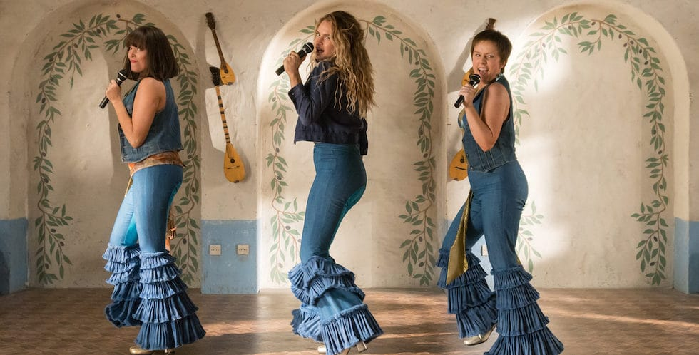 three girls singing in Mamma Mia 2